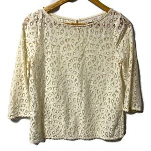 LOFT Ivory Lace Long Sleeve Top XSP